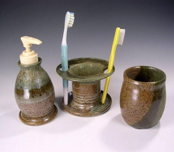 Pottery Soap Pump Dispenser And Toothbrush Holder Bathroom Accessory Set Ceramic Stoneware