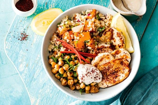 A hearty healthy bowl full of pumpkin, haloumi, chickpeas and quinoa is just the recipe for a healthy lunch or dinner.