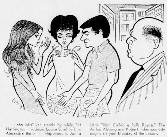 Louise Sorel, Alexandra Berlin, Pat Harrington, Jr., and John McGiver, 1968