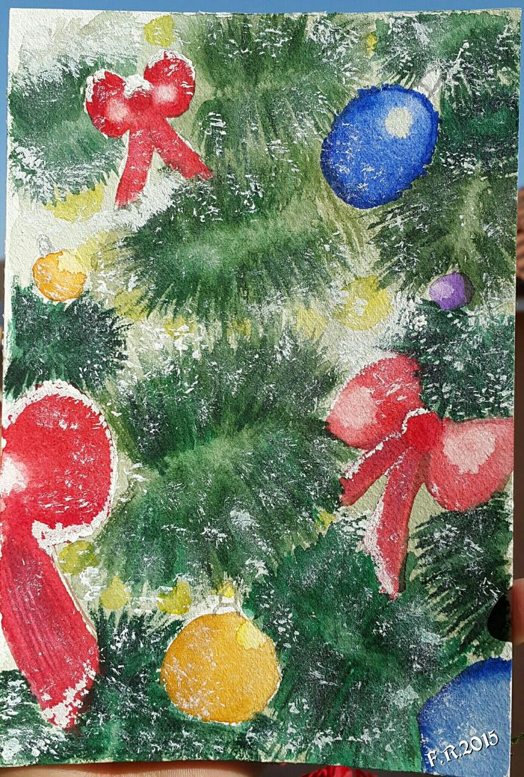 My Original Watercolor by Francesca Rocchi - Christmas tree and Magic Moment - Acquerello originale di Francesca Rocchi - Albero di Natale con fiocchi e neve