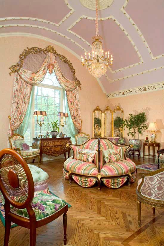 Vintage Chic ♥ Parlor Room oh those exquisite chairs... The color tones and mixing of floral with stripes total eye candy....