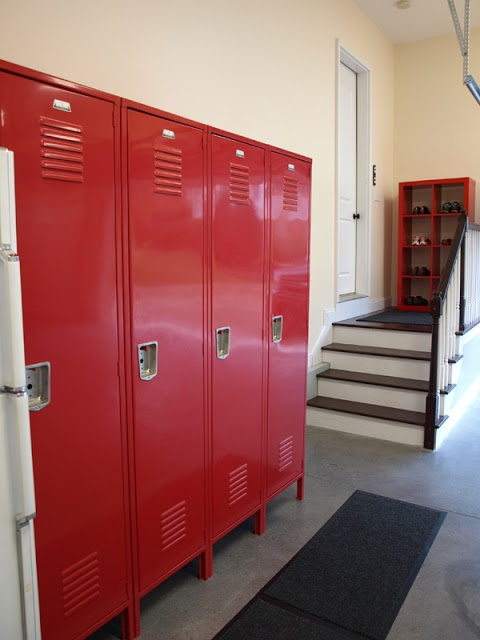 Lockers for kids...in the garage! Absolutely love this. Great way to hide rising gear, roller blade stuff, balls!