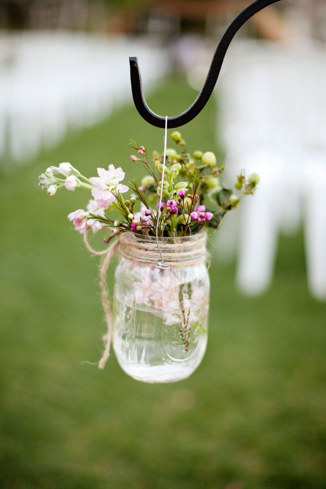 Mason Jar Wedding Details, Aisle Decor. OMG i love this idea! I wanna do this!