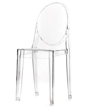 This classic see-through option won't cause visual clutter in a tight space. Have it do double duty as a dining chair and stack a set out of the way when not in use.