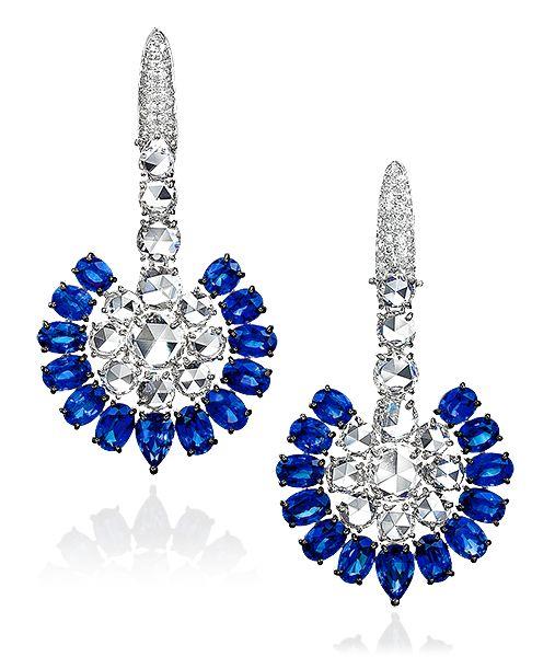 Rose Cut Sapphire and Diamond Ear Drops