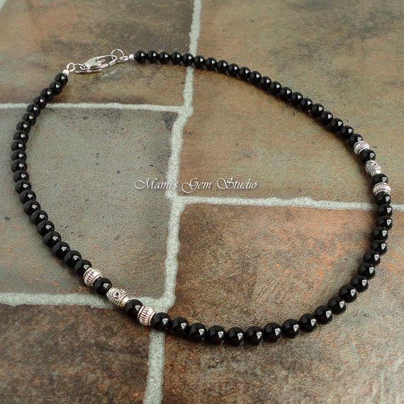 Mens Black Onyx Necklace Handmade Beaded por mamisgemstudio en Etsy