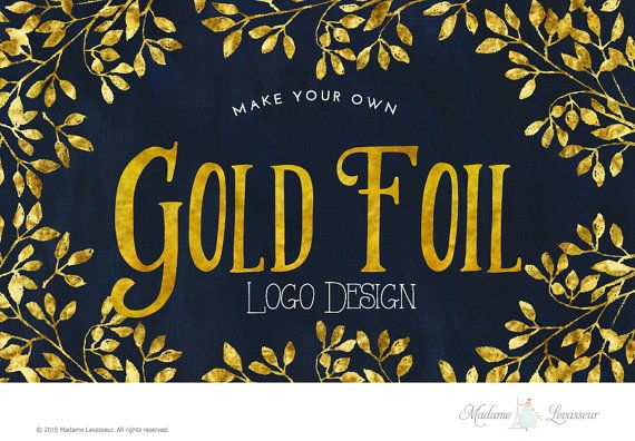 Gold Foil Logo Design Gold Logo Gold Text Logo by MadameLevasseur