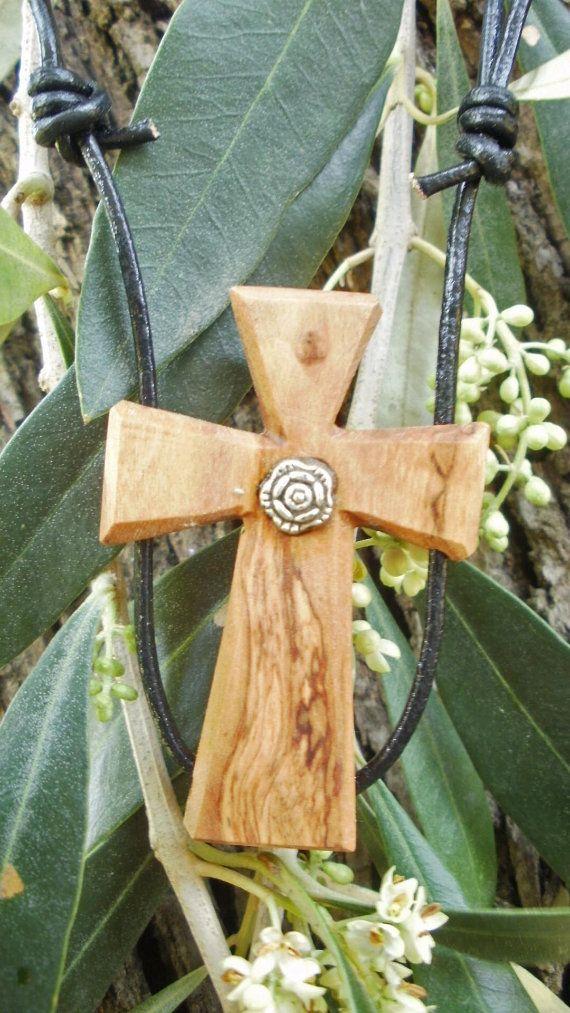 Olive wood cross pendant with Tibetan silver by ellenisworkshop