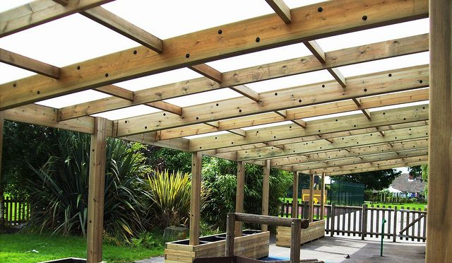 wooden shelter timber lean to outdoor classroom wooden shelter canopy  kew by www.pendlewood.com, via Flickr