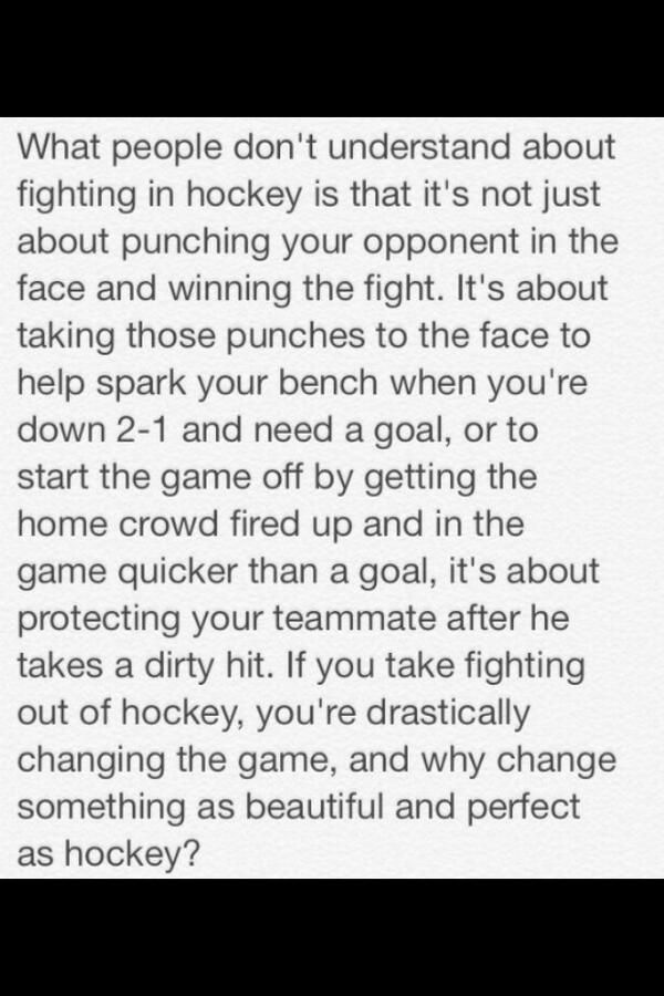 So true. Hockey is a very physical game and emotions run high. If a player is frustrated by the way the game is going, its better for him to get his frustrations out by fighting a willing opponent rather than making a dirty hit on another player and risking serious injury. People who don't know hockey shouldn't be allowed to voice their opinions on how the game is played.