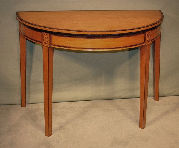A Late 18th Century Sheraton Period Half Round Satinwood Card Table Having Padoukwood Crossbanded