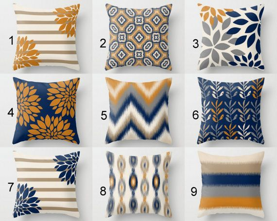 Throw Pillow Cover Pillow Covers Navy Carrot Taupe Grey Accent Pillows Cushion Covers