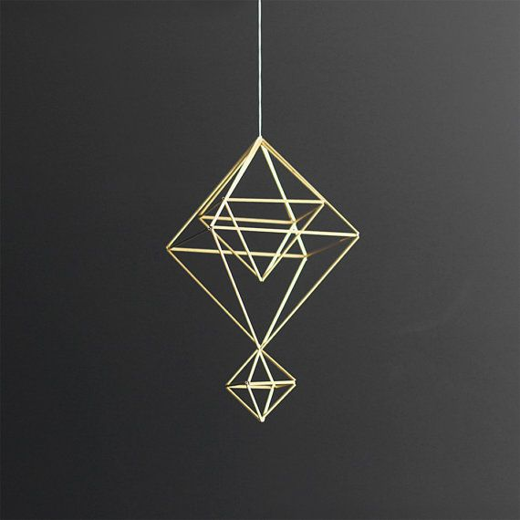 Brass Himmeli no. 6 / Modern Hanging Mobile / Geometric by HRUSKAA, $ 70.00