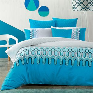 Beautiful blues provide a stunning contrast with crisp, arctic white in this classic geometric print. Touches of teal, black and pewter add definition to the pattern and a quilted and piped blue euro pillowcase and cushion cover add a luxurious dimension to this design. The quilt cover has press stud closure.