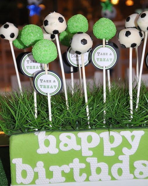 soccer cake pops by Sweet Enough custom labels: www.thepaperkingdom.etsy.com