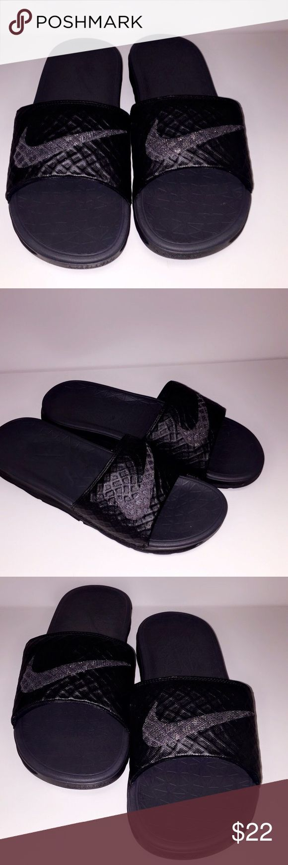 Men's Nike Benassi JDI Solarsoft Slides Featuring a padded lining and grooved footbed for ventilation, these men's Nike sandals are perfect for post-game wear or relaxing on weekends. Nike Shoes Sandals & Flip-Flops