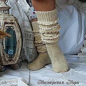 Аксессуары ручной работы. Ярмарка Мастеров - ручная работа Высокие шерстяные носки (гольфы) с ручным кружевом. Handmade.