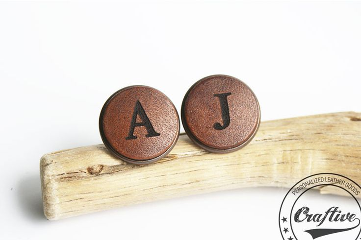 Personalized Leather Copper Cufflinks by Craftive Leather