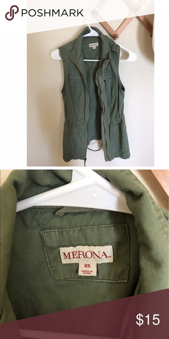 Target Merona Green Vest Classic army Green Vest. Can tighten or loosen as much as you like.  Very versatile. Merona Jackets & Coats Vests