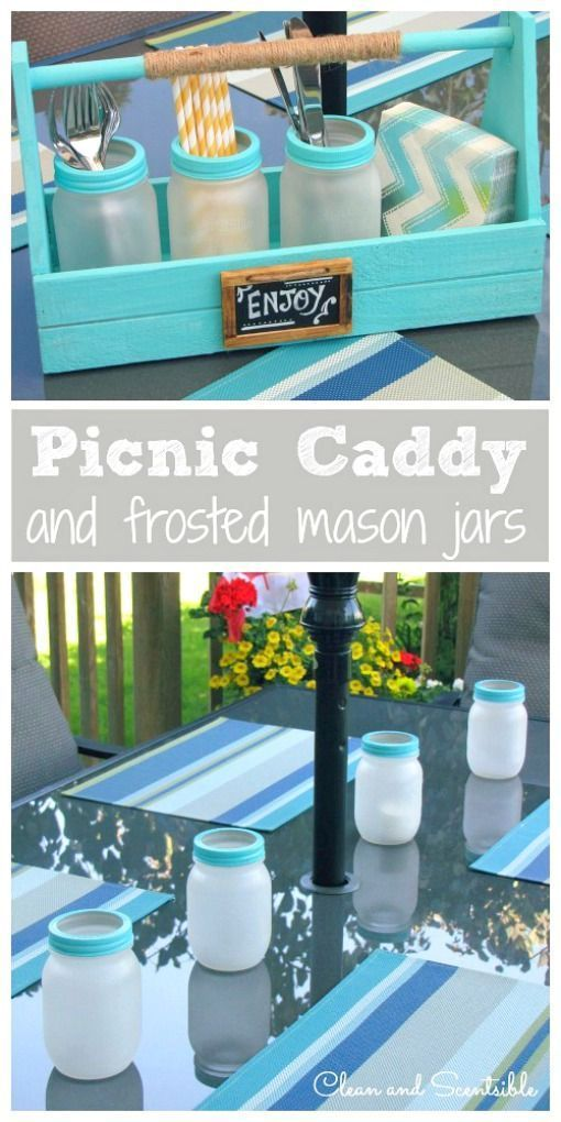 I love these frosted mason jars and picnic caddy. So many uses!