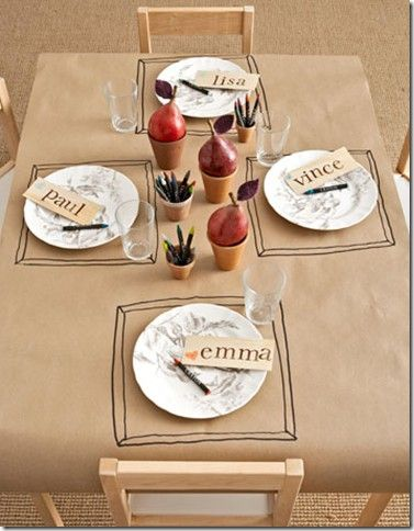 Color your own table cloth-totally doing this for Thanksgiving! Great for the kids and also for my table since i can never find the right size cloth.