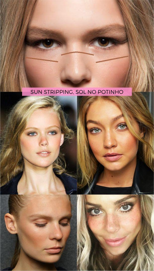 Em tempos de narizes e bochechas super contornadas, o sun stripping chega praticamente pra subverter essa febre. Fica com aspecto de maquiagem natural e segue a outra onda, a de no makeup makeup!
