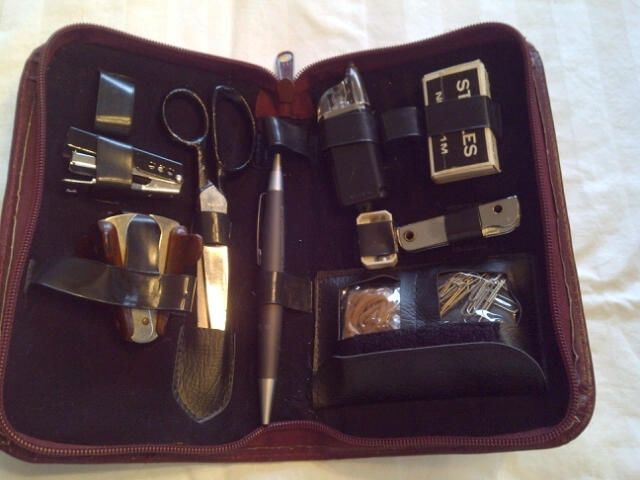 Travel/portable Office Supplies In A Burgundy Leather Case  Packs Easily