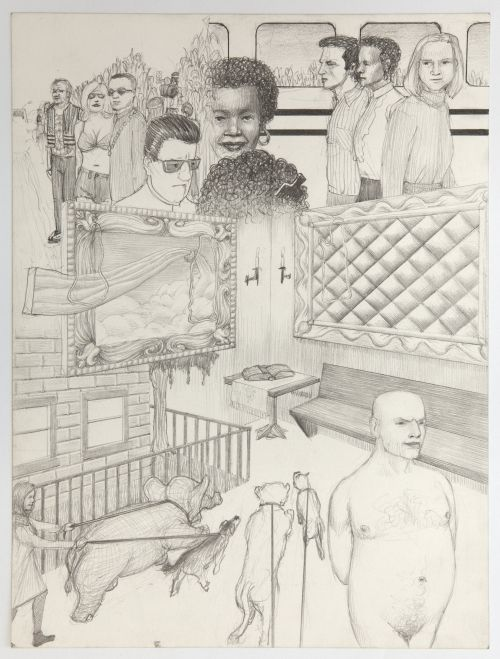 Jim Shaw, Dream Drawing (On the TV movie bio of Frank Sinatra...), 1996. Pencil on paper, 12 x 9 in (30.5 x 22.9 cm). Courtesy the artist and Blum & Poe, Los Angeles