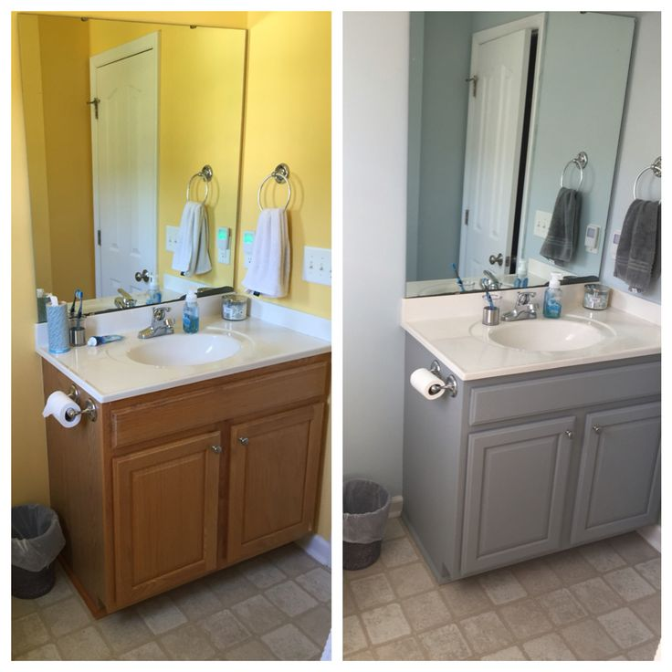 Before and after bathroom cabinet, Valspar Chalky paint in woolen ...