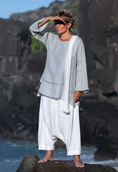 pale blue linen gauze loose fit tunic with a white harem pants ( sarouel)