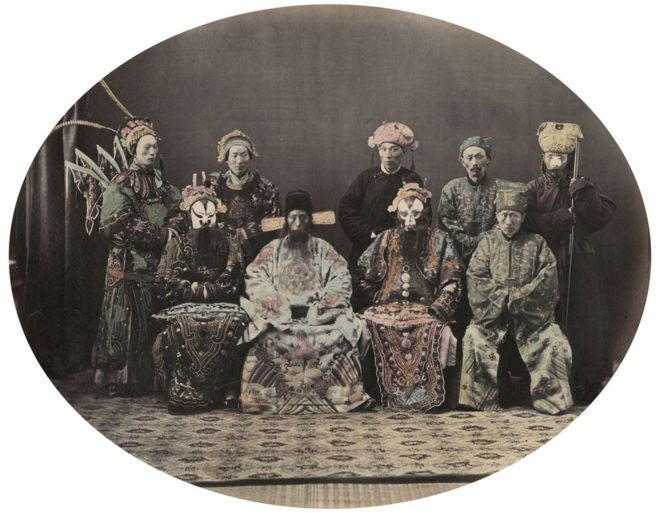 William Saunders, Actors, 1860s-1870s. Hand-tinted albumen silver print. No. 36 in Sketches of Chinese Life and Character series