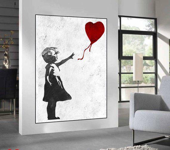 Banksy Boy and Girl Love  Modern Wall Art Canvas Print Framed ~ Many Size