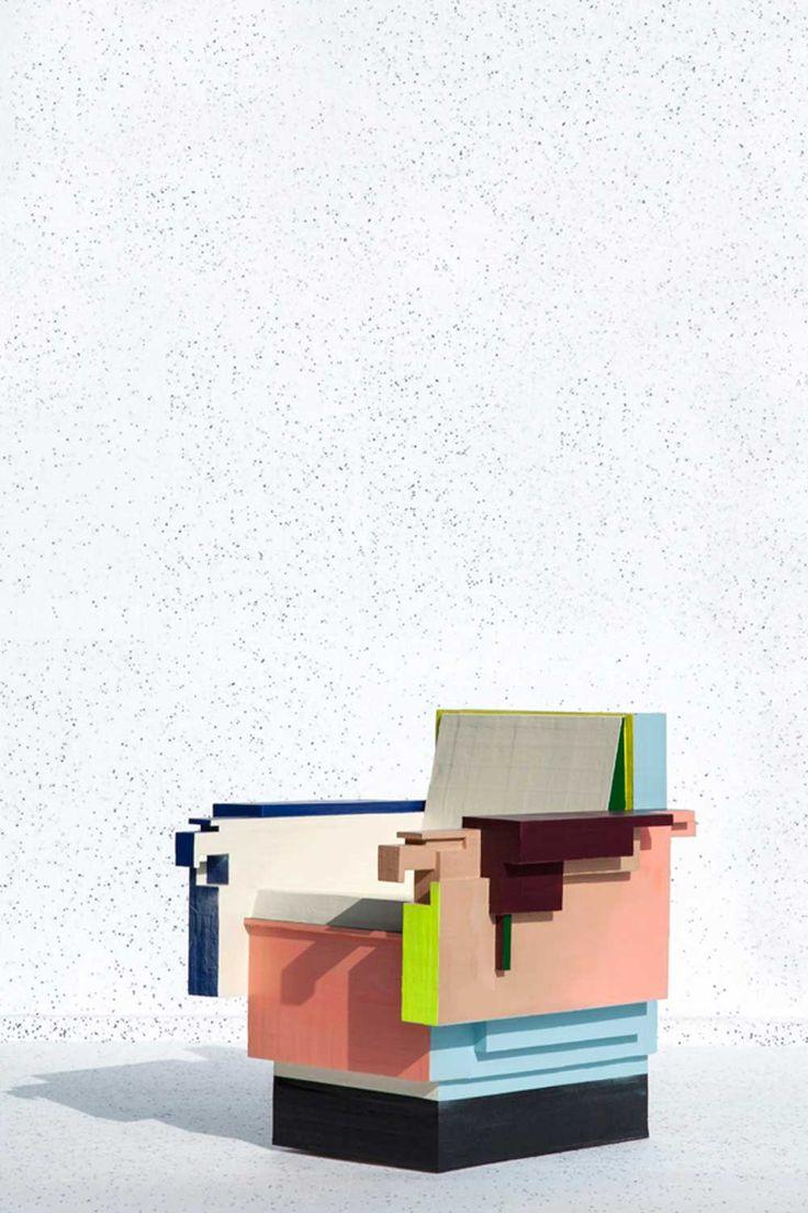 Milantrace 2014 / Ventura Lambrate, The sorry collection by Tessa Koot   Yellowtrace  Dit is een stoel wat ik zelf niet zo snel zou kopen maar in de memphis trend is dit een enorm uniek design en kan je toepassen bij een memphis concept.