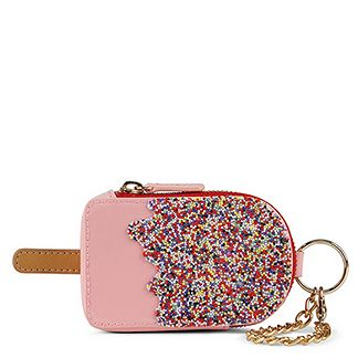 """GORRETO change purse in """"light pink"""" (shown) $18 at Aldo--LOVE this little coin purse and the sprinkles just put it over the top!"""