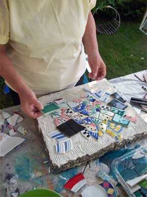 mosaic stepping stone tiles tutorial
