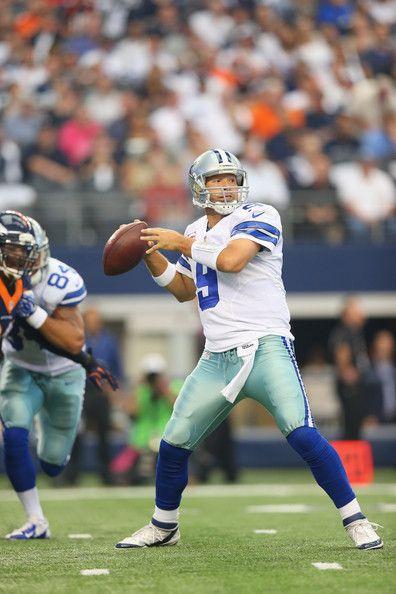 Tony Romo Photos Photos - Tony Romo #9 of the Dallas Cowboys at AT&T Stadium on October 6, 2013 in Arlington, Texas. - Denver Broncos v Dallas Cowboys