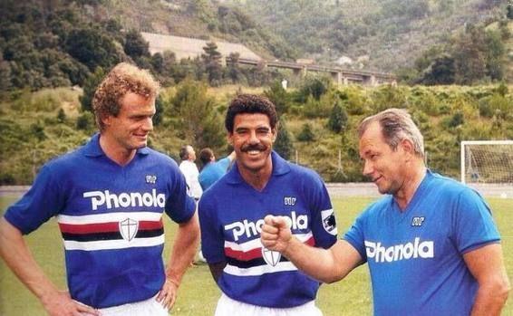 Hans Peter Briegel, Toninho Cerezo et Vujadin Boskov (Sampdoria Genes)