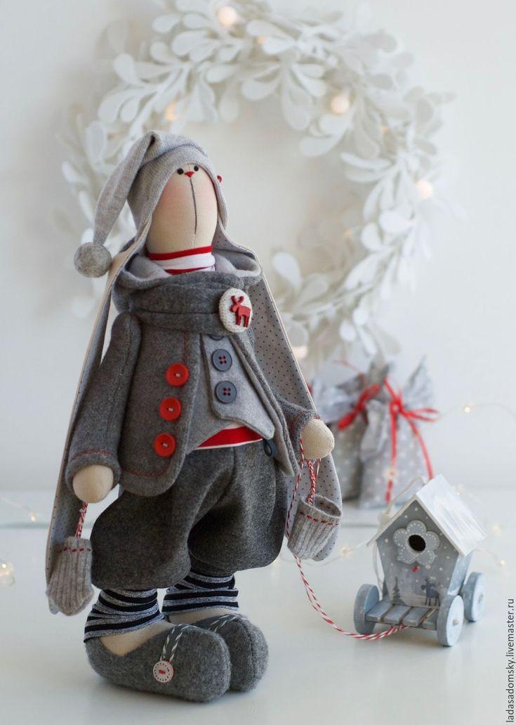 Купить Новогодний зайчик Арно - 39 см - серый, новогодние украшения, зайчики, заяц игрушка