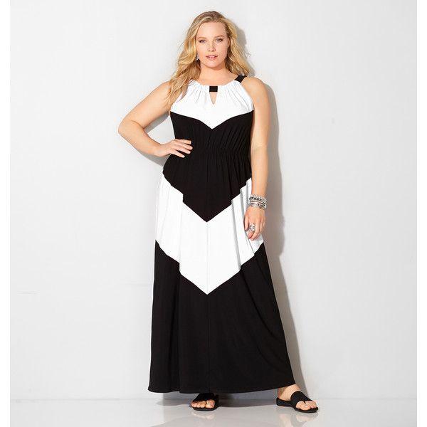 Avenue Plus Size White Colorblocked Blouson Maxi Dress ($49) ❤ liked on Polyvore featuring dresses, black, plus size, chevron maxi dress, plus size dresses, white halter top, plus size long dresses and white maxi dress
