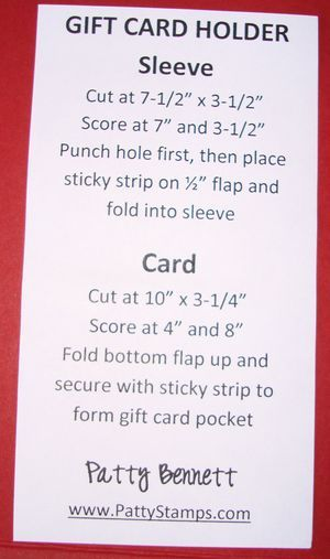 Gift card holder instructions