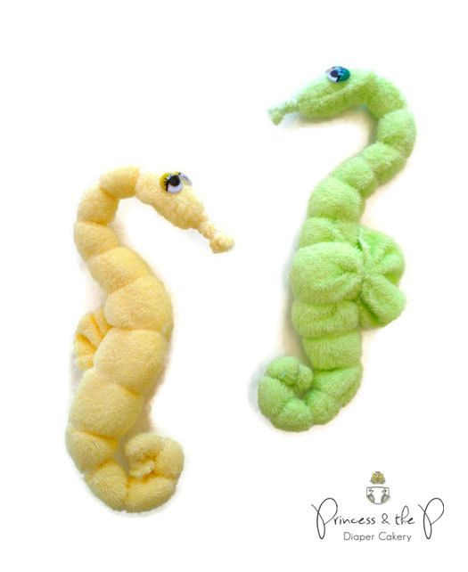 THE ORIGINAL Washcloth Seahorse - Diaper Cake, Under the sea baby Shower, Baby Shower favors, Easter, Basket Stuffers, Washcloth animal