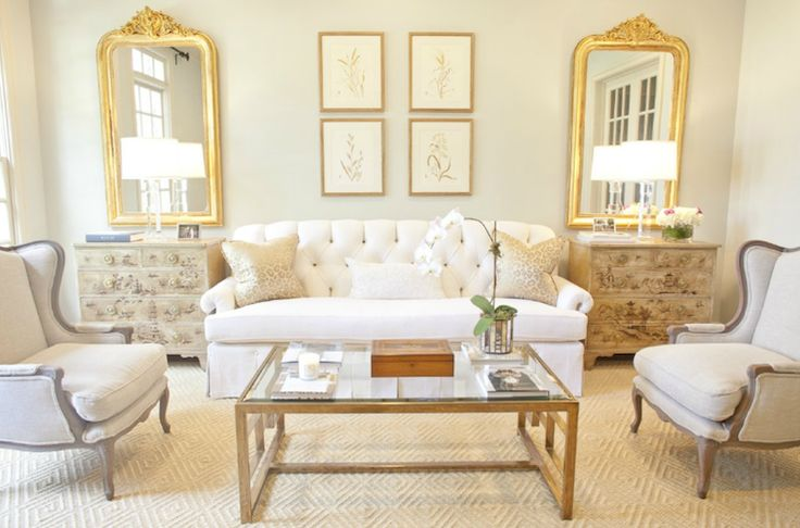 Munger Interiors - living rooms - Aloof Grey, gold, mirrors, vintage, French, chests, white, tufted, settee, sofa, gray, linen, wingback, chairs, diamond, patterned, rug, crystal, lamps, cocktail table, orchid,