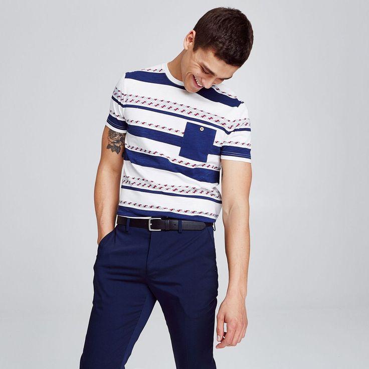 T-shirt Esprit Marinière Ethnique Avec Poche Poitr – Taille : L;M;S;XL