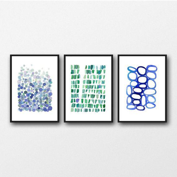 Giclee print / Set of 3 prints  / watercolor by LouiseArtStudio