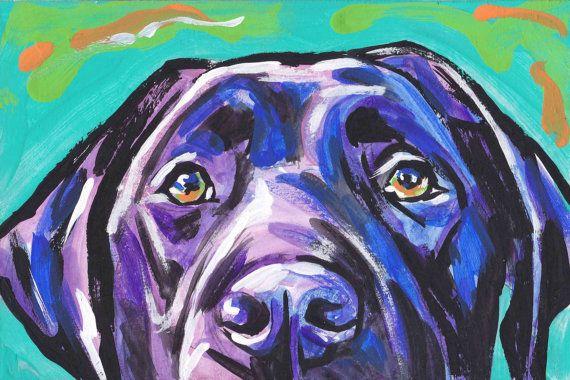 Arte moderno de perro Labrador Retriever Imprimir por BentNotBroken