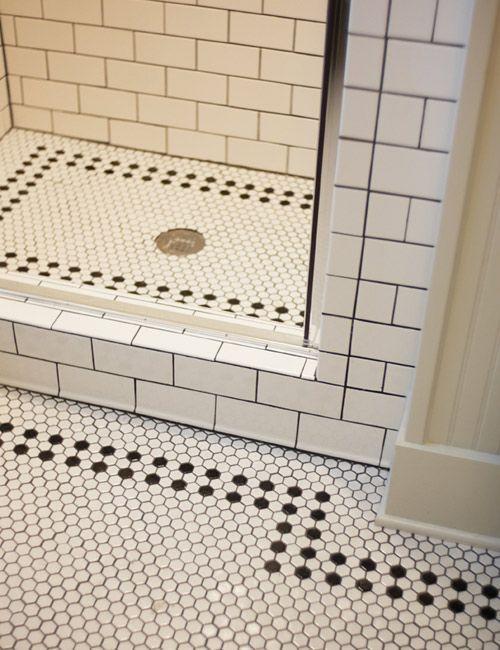 Creative Tile Flooring Patterns - white hex tile with black border on bathroom & shower floor - love this!