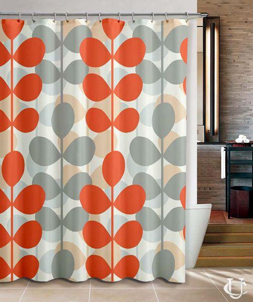 Orla Kiely Inspirate orange patern design Shower Curtain