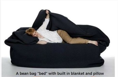 Bean bag bed with built in blanket and pillow.