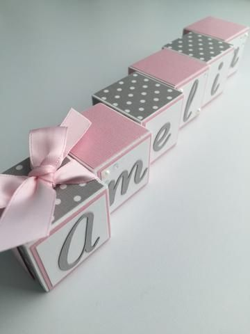 Baby Name Blocks - Pink Gray