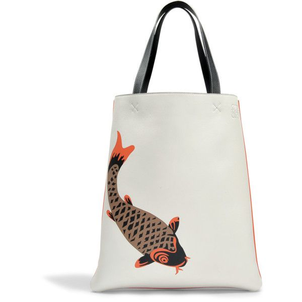 Loewe Vertical tote pesce bag ($1,701) ❤ liked on Polyvore featuring bags, handbags, tote bags, multicoloured, tote purses, cat tote, colorful tote bags, multi colored purses and multi color purse
